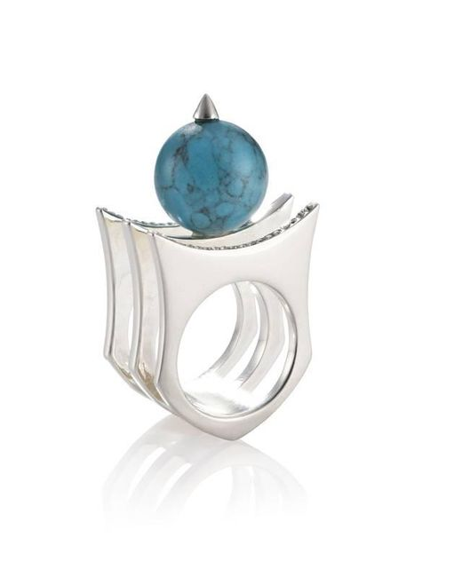 Yael Salomon - Metallic Greta 01 Silver And Turquoise Ring - Lyst