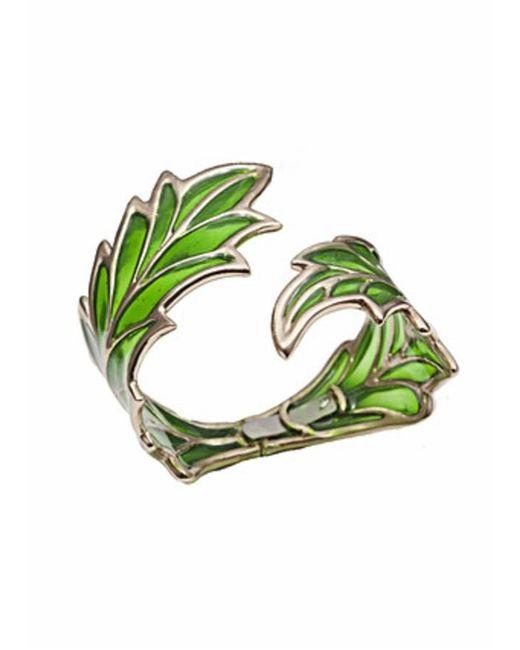 Bernard Delettrez - Openwork Green Enamel Leaf Cuff - Lyst
