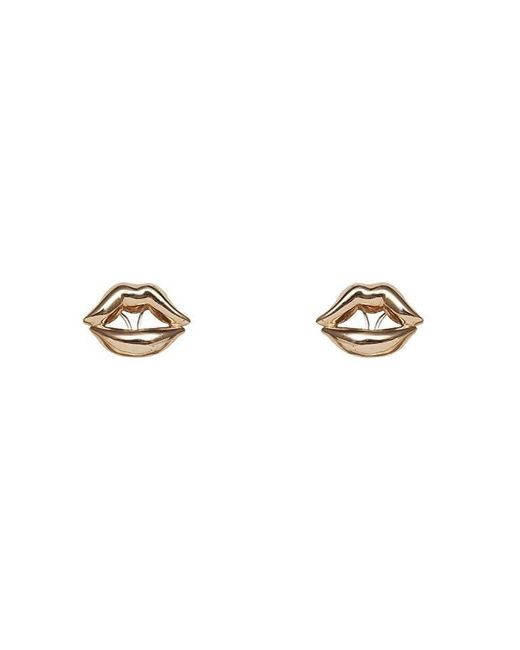 Bernard Delettrez | Metallic Lips Earrings Bronze | Lyst