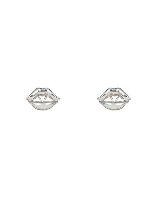 Bernard Delettrez | Metallic Lips Earrings Silver | Lyst