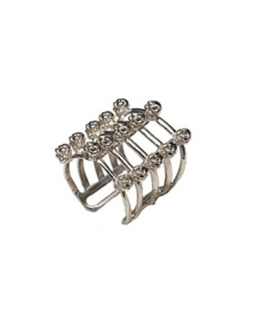 Bernard Delettrez | Metallic Cage And Skulls Silver Ring | Lyst