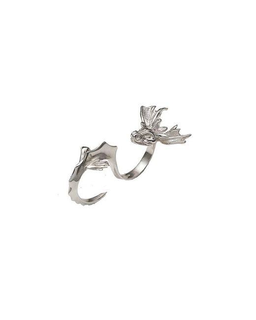 Bernard Delettrez | Metallic Dragon Two Finger Silver Ring | Lyst
