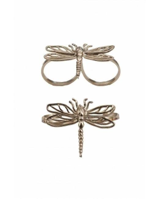 Bernard Delettrez | Metallic Two Finger Bronze Ring With Dragonfly | Lyst