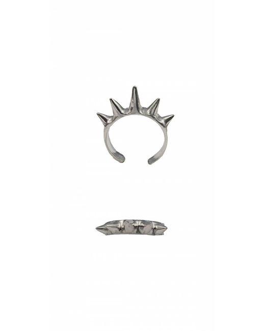 Bernard Delettrez | Metallic Single Band Silver Ring With Spikes | Lyst