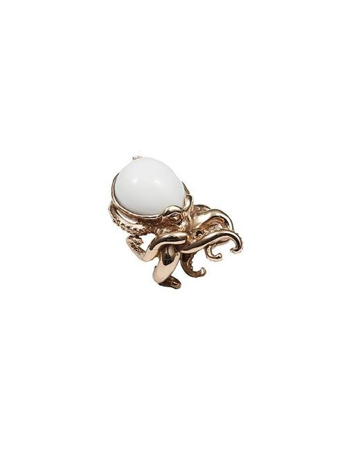 Bernard Delettrez | Metallic Octopus Bronze Ring With White Agate | Lyst