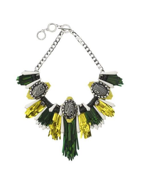 Forest Of Chintz - Disco Jungle Green Gold Fringe Necklace - Lyst