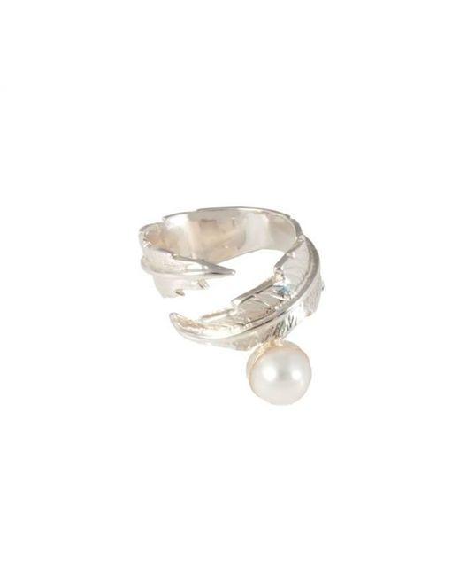 Leivan Kash | Metallic Feather Pearl Open Ring | Lyst