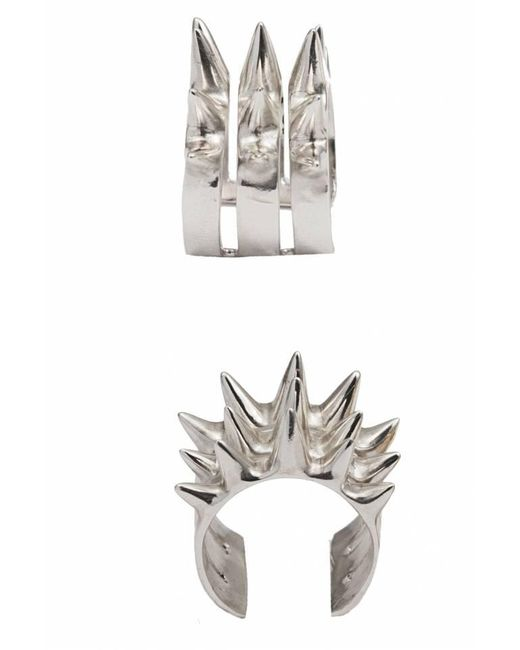 Bernard Delettrez | Metallic Triple Spike Silver Ring | Lyst
