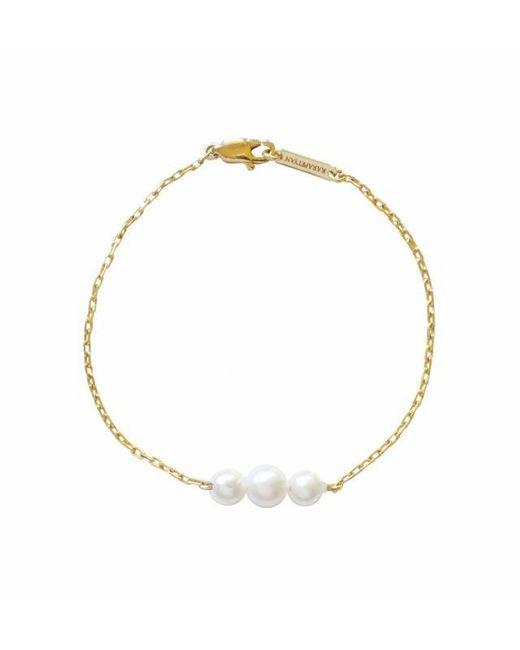 Karapetyan   Metallic Petite Gold And Pearl Bracelet   Lyst