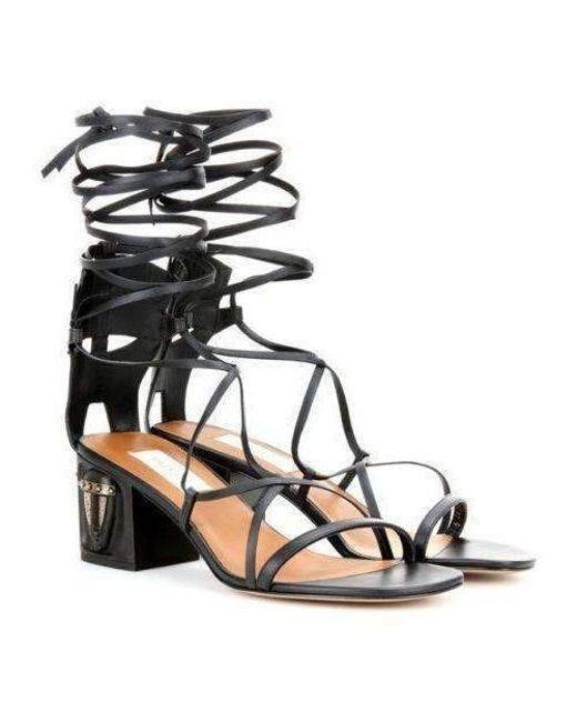 616d5f973b5 ... Valentino - Black Valentino Gladiator Mask Leather Sandals - Lyst ...