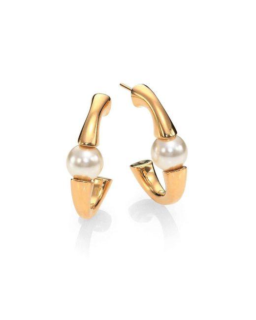 Chloé - Metallic Chloe 'darcey' Swarovski Pearls Plated Brass Half Hoop Earrings 2e0586-h5 - Lyst