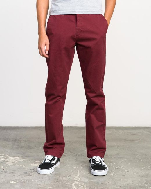 RVCA - Red Stay Chino Pants for Men - Lyst