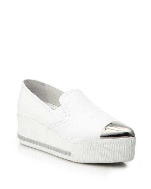 Miu Miu - White Cap Toe Leather Platform Skate Sneakers - Lyst