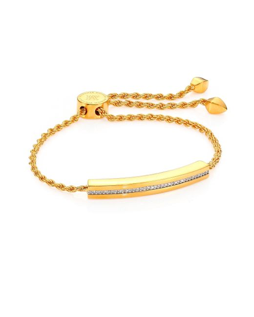 Monica Vinader | Metallic Linear Diamond Chain Bracelet/goldtone | Lyst