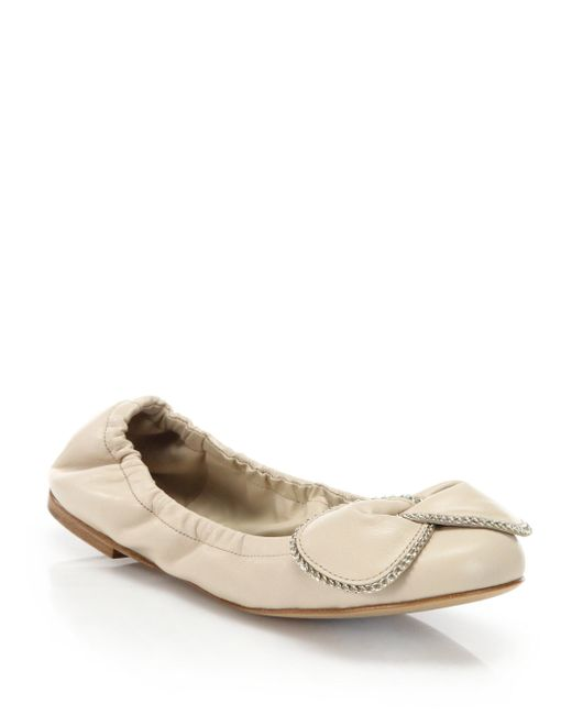 See By Chloé - Natural Clara Chain-detail Leather Ballet Flats - Lyst