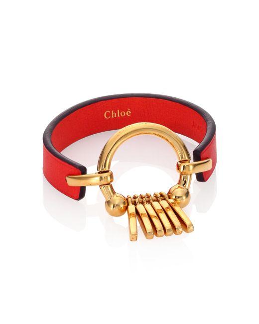 Chloé - Red Marin Fringe Leather Bracelet - Lyst