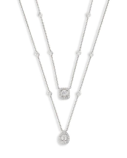 Messika | Metallic My Twin Diamond & 18k White Gold 2-row Necklace | Lyst