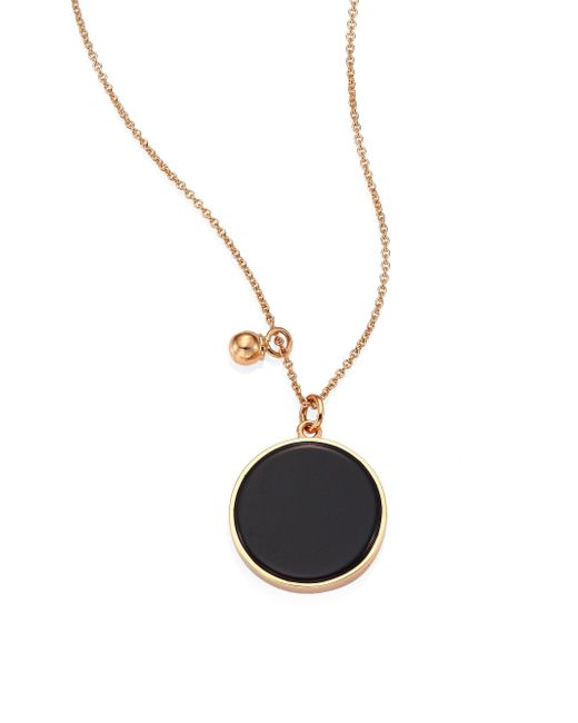Ginette NY - Metallic Ever Onyx & 18k Rose Gold Round Pendant Necklace - Lyst