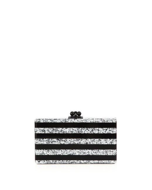 Edie Parker - Black Jean Glitter Stripe Acrylic Clutch - Lyst
