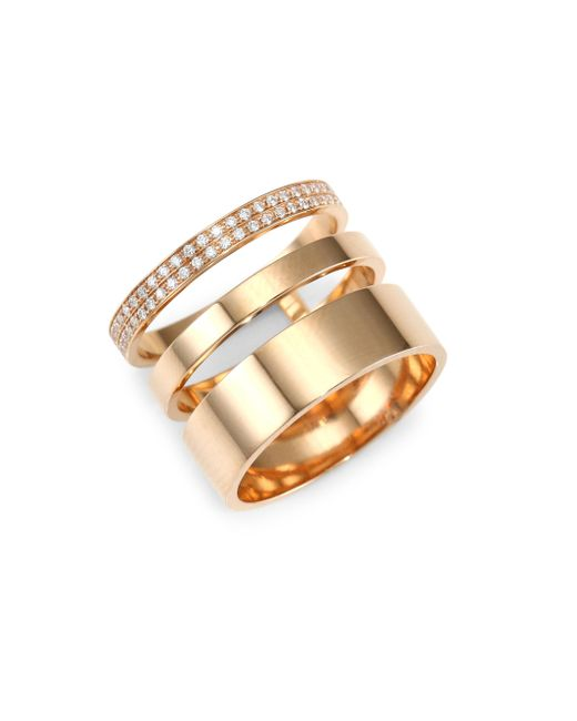 Repossi - Metallic Diamond Pave 18k Rose Gold Layered Ring - Lyst