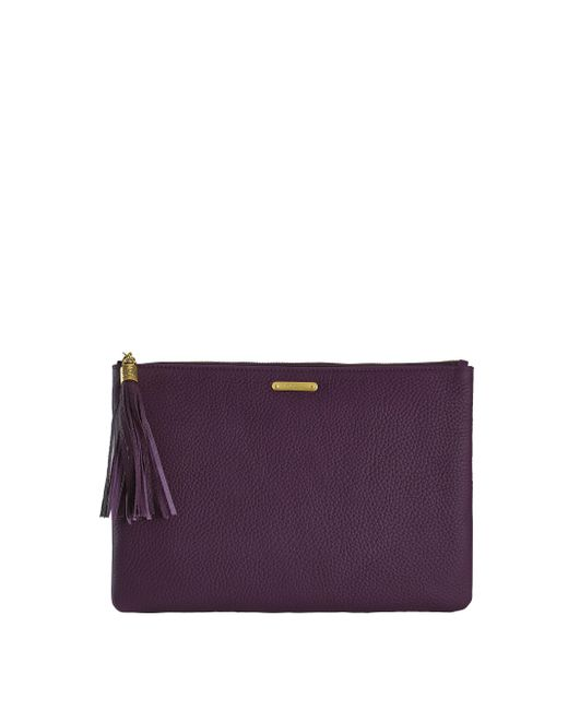 Gigi New York | Purple Uber Pebbled Leather Clutch | Lyst