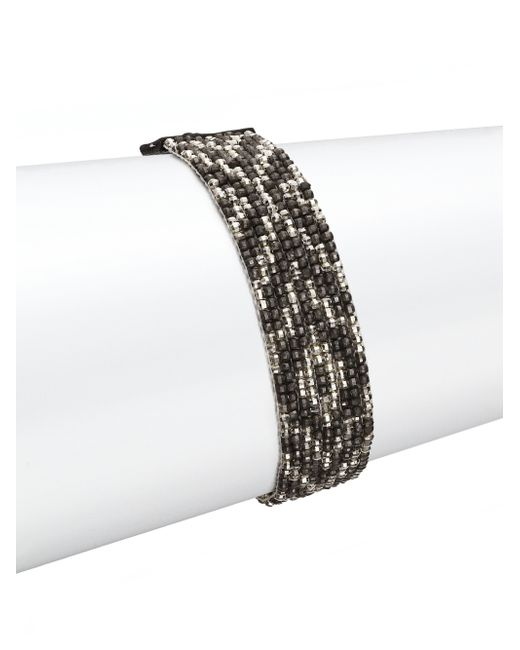 Chan Luu | Metallic Gunmetal, Sterling Silver & Leather Multi-row Beaded Bracelet | Lyst