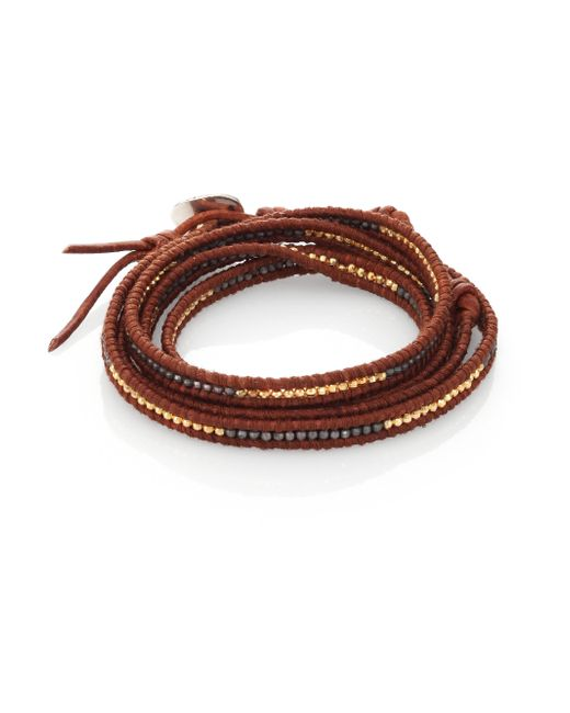 Chan Luu | Red Two-tone Beaded Leather Multi-row Wrap Bracelet/brown | Lyst