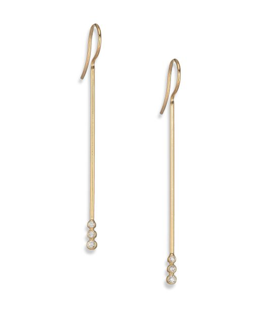 Mizuki | Metallic Diamond & 14k Yellow Gold Short Bar Drop Earrings | Lyst