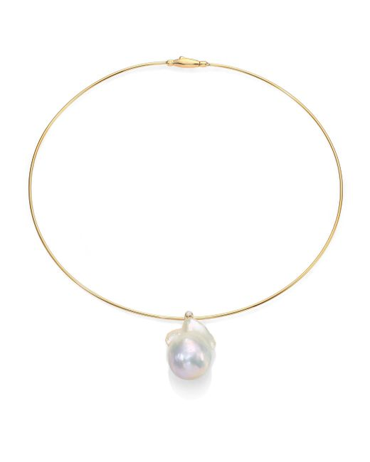 Mizuki | Metallic 27mm White Freshwater Pearl, Diamond & 14k Yellow Gold Collar Necklace | Lyst