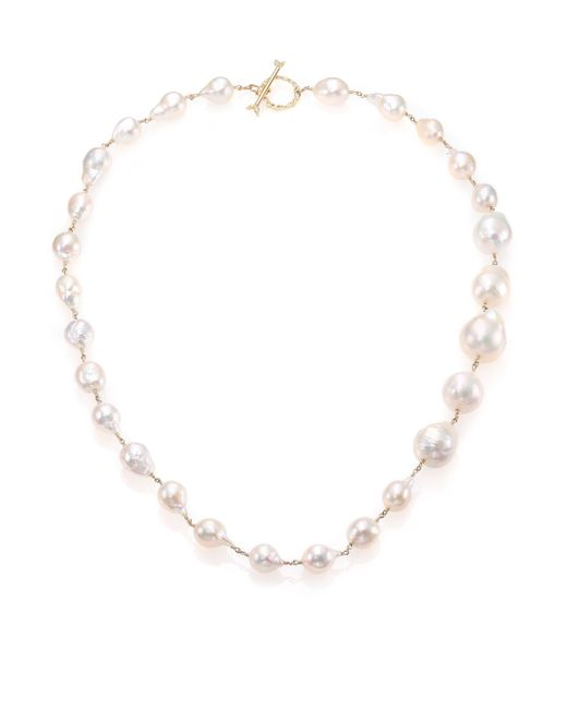 Mizuki | 17mm White Baroque Akoya Pearl, Diamond & 14k Yellow Gold Graduated Necklace | Lyst