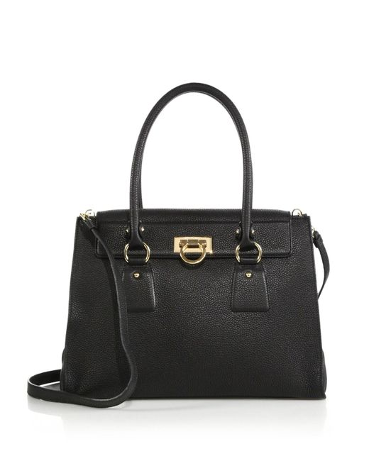 Ferragamo | Black Lotty Medium Satchel | Lyst