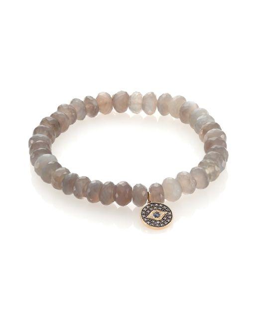 Sydney Evan   Blue Diamond, Sapphire, Grey Moonstone & 14k Yellow Gold Evil Eye Beaded Stretch Bracelet   Lyst