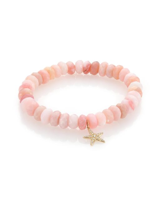 Sydney Evan | Diamond, Pink Opal & 14k Yellow Gold Starfish Beaded Stretch Bracelet | Lyst