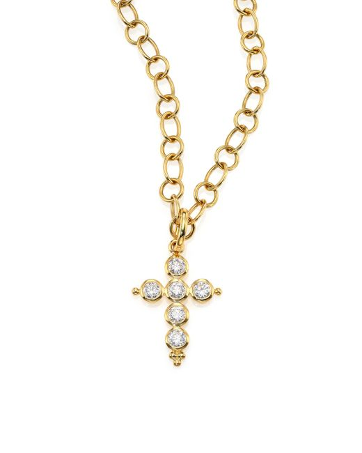 Temple St. Clair | Metallic Classic Diamond & 18k Yellow Gold Cross Pendant | Lyst