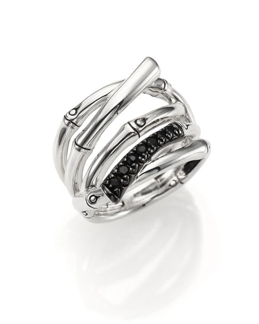 John Hardy | Metallic Bamboo Black Sapphire & Sterling Silver Multi-row Ring | Lyst