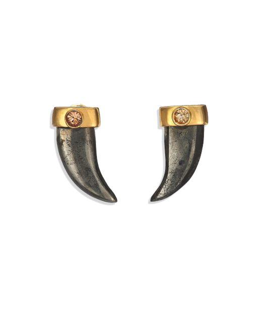 House of Lavande | Metallic Batari Pyrite & Crystal Horn Stud Earrings | Lyst