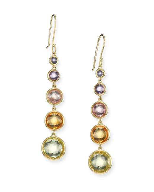 Ippolita | Metallic Rock Candy Semi-precious Multi-stone & 18k Yellow Gold Lollitini Drop Earrings | Lyst