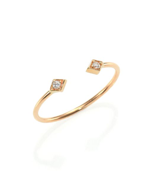 Zoe Chicco | Metallic Diamond & 14k Yellow Gold Double Kite Open Ring | Lyst