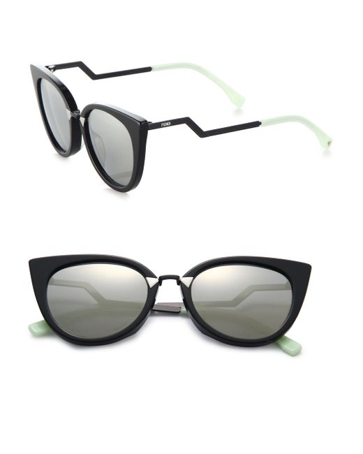 Fendi | Black Zig-zag Arm 52mm Cat Eye Sunglasses | Lyst