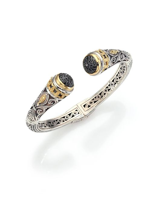 Konstantino | Metallic Asteri Black Diamond, 18k Yellow Gold & Sterling Silver Filigree Cuff Bracelet | Lyst