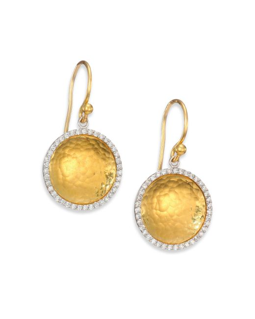 Gurhan | Hourglass Diamond & 24k Yellow Gold Small Drop Earrings | Lyst