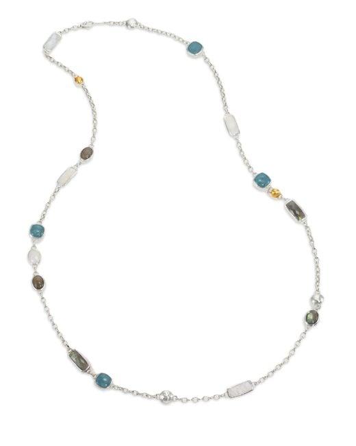 Gurhan | Metallic Lentil Semi-precious Multi-stone, 24k Yellow Gold & Sterling Silver Storm Long Station Necklace | Lyst