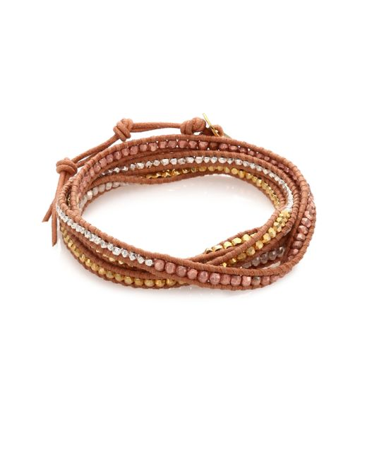 Chan Luu | Metallic Tri-tone Beaded Leather Multi-row Wrap Bracelet | Lyst