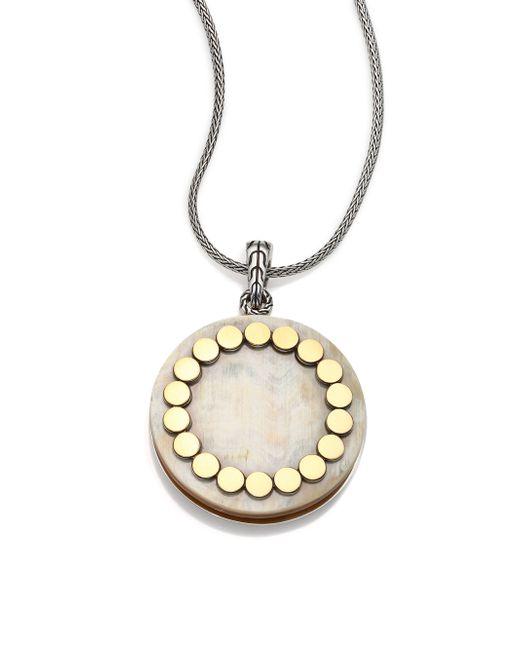 John Hardy | Metallic Dot Buffalo Horn, 18k Yellow Gold & Sterling Silver Large Locket Necklace | Lyst