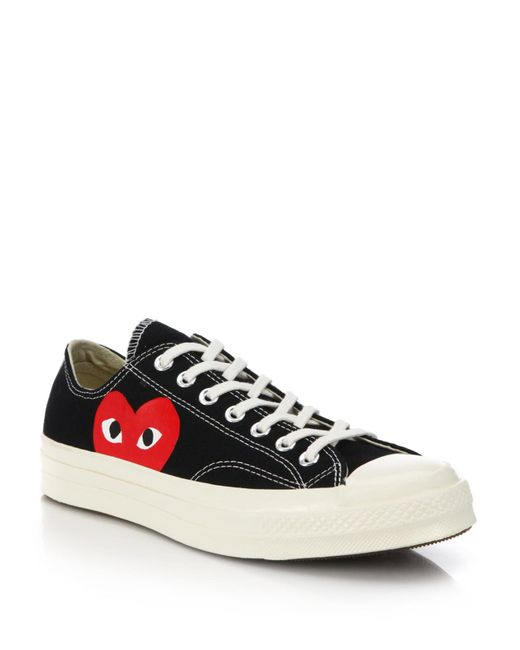 Comme des Garçons | White Large Emblem Low Top Canvas Sneakers | Lyst