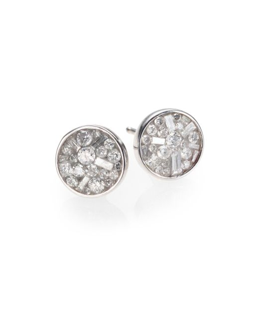 Plevé | Metallic Ice Diamond & 18k White Gold Stud Earrings | Lyst