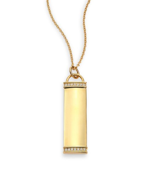 Kwiat | Metallic Diamond & 18k Yellow Gold Tag Pendant Necklace | Lyst