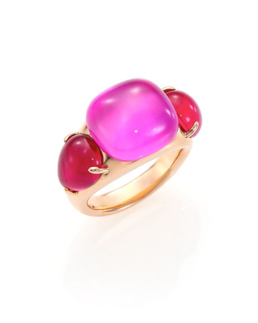 Pomellato | Pink Rouge Passion Jungle Three-stone Ring | Lyst