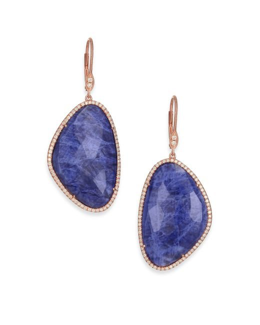 Meira T | Blue Sodalite, Diamond & 14k Rose Gold Drop Earrings | Lyst
