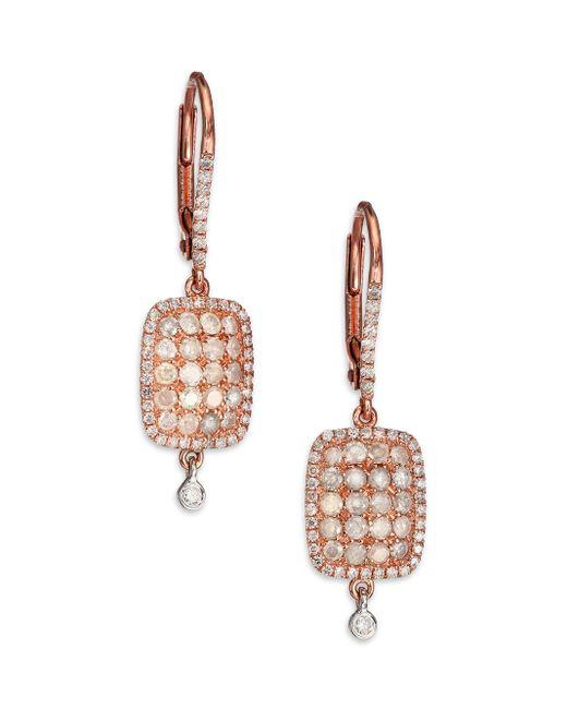 Meira T | Pink Diamond & 14k Rose & White Gold Ice Drop Earrings | Lyst